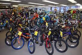BMX bikes in a bike shop.